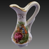 Doll House Size Pitcher or Vase with Rococo Scene