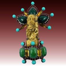 Signed Larry Vrba Massive Decorative Brooch