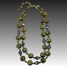 Rose Bead and Aurora Borealis Crystal Necklace
