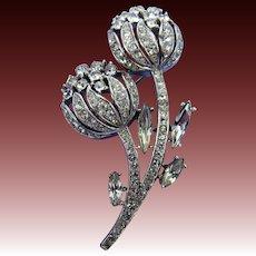Signed TRIFARI Crystal Clear Brooch