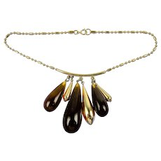 Chunky 1970's Necklace with Imitation Amber