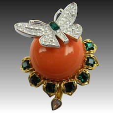 Signed Kenneth Lane Duchess of Windsor Butterfly Cabochon Brooch