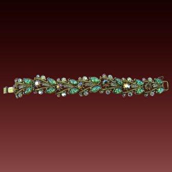 Signed Florenza Iridescent Molded Stones Bracelet