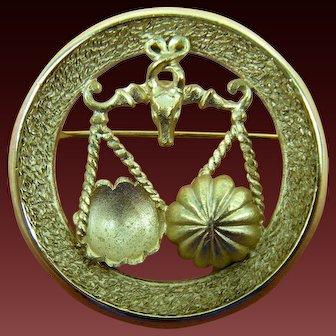 Signed Trifari Libra Horoscope Brooch