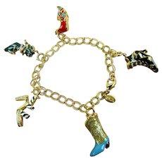 Signed Kenneth Jay Lane Exotic Shoe Charm Bracelet