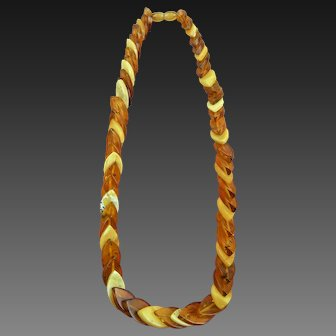Natural Two Color Amber Link Necklace