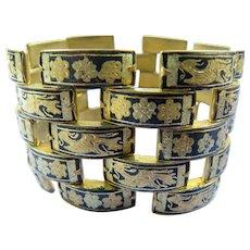 Damascene-Style Extra Wide Link Bracelet