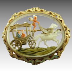 Painted Celluloid 1930's Scene Brooch