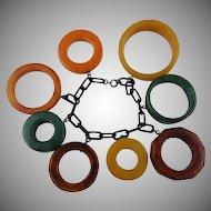 Extraordinary Bakelite Bracelet with Large Rings