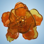 Gorgeous Cellulose Acetate Flower Brooch with Rhinestones