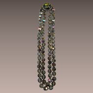 Stunning Double Strand Crystal Necklace with Watermelon Rivoli Clasp