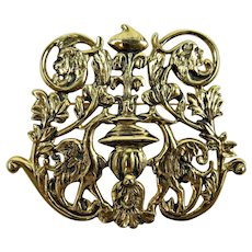 "Rare Signed ""Beverly Sills"" Ornate Baroque Style Brooch"