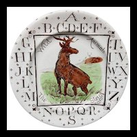 Antique ABC Plate ~ Wild Animals ~ The STAG 1880 AMT