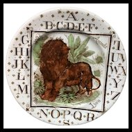 ABC Plate The LION ~ Wild Animals ~ Outstanding Pearlware Alphabet 1880 AMT