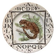 Alphabet Wild Animals Nursery ABC PLATE ~ The LEOPARD 1880 AMT