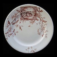 Victorian Brown Transfer FISH Plate ~ Atlantic 1883