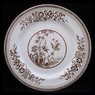 Brown Aesthetic Transferware Plate ~ Bird & Nature 1876