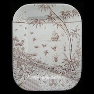 Aesthetic Brown Transferware Platter ~ Melbourne 1880