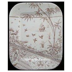 Aesthetic Brown Transferware Platter ~ Melbourne 1880