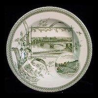 Rare Green Transferware WORLD Plate 1884