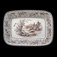 Brown Transferware Aesthetic Platter ~ DAFFODIL 1882