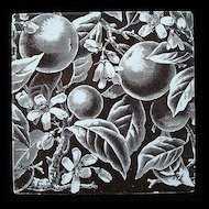 Brown Victorian Movement Tile ~ ORANGES 1880