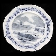 Mulberry Transferware Fables Plate ~ RAT & OYSTER  1880