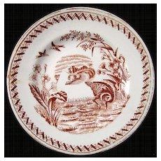Brown Aesthetic Transferware Plate ~ WATER HEN 1890