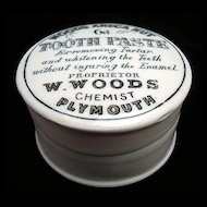"English ""Quack Medicine"" Tooth Paste Pot and Lid 1890"