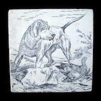 Wedgwood Game Subjects Tile ~ Surprised Dog 1876