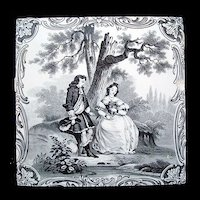 Minton Classical Watteau Lovers Tile ~ 1880