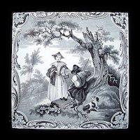 Minton Classical Watteau Picnic Tile ~ 1880