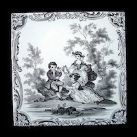 Minton Classical Watteau Attention Tile ~ 1880