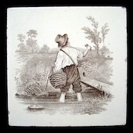 Minton Pictorial Crawfish Tile ~ 1880