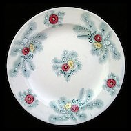Polychrome Transferware Plate ~ Peacock Feathers 1830