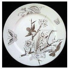 Victorian Japanesque Plate ~ Birds & Butterflies 1880