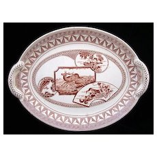 Antique English Transfer Platter ~ DEER 1880