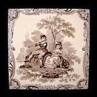 Minton Classical Watteau Flute Player Tile ~ 1880