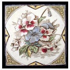 English Brown Transferware Tile ~ PANSIES 1885