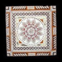 Victorian Brown Transferware Tiles ~ Aztec Sunflower 1885