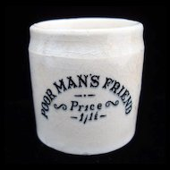 QUACK Medicine ~ Poor Man's Friend Pot ~ 1880