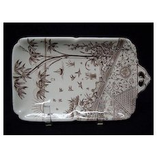 Rare Brown Transferware PICKLE Platter ~ MELBOURNE 1881