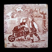 Antique Brown Transfer Tile ~ GRAPES 1880