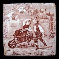 Antique Brown Transfer Tile ~ GRAPES 1880