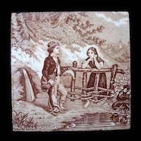Antique Brown Transfer Tile ~ THE HUNT 1880