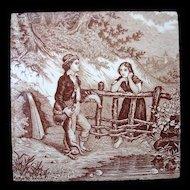 Antique Brown Transfer Tile ~ THE HUNT 1880