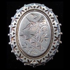 Victorian Antique Sterling Silver Brooch Pin 1885