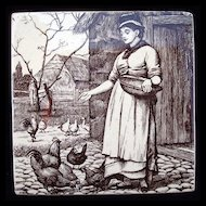 William Wise Country Life Tile Trivet ~ Feeding Chickens 1882