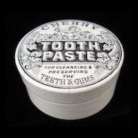 Victorian CHERRY Fruit Tooth Paste Pot Lid 1880
