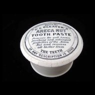 Rare Areca Nut Quack Medicine Tooth Paste Pot and Lid 1885